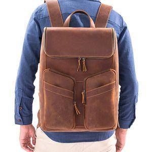 Zaino da viaggio Zaino Maschio Laptop Daypack School Book borse vintage reale Vera Pelle Zaino Men