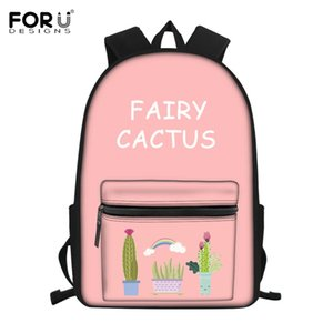 FORUDESIGNS Fairy Ball Plant Cactus Printing School Bag 대 한 청소년 Girls Pink 학생 노트북 Backpack Mochila Infantil 2019