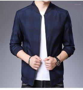 Designer Jacket Fashion Long Sleeve Zipper Casual Outwear Solid Color Plaid Male Coats Plus Size Mens