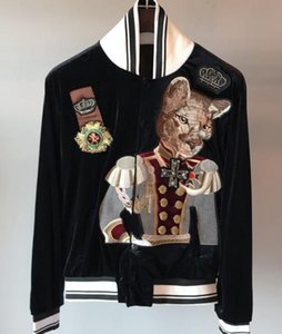2019 spring new fashion arrival dog cat duke crown badge embroidery baseball bomber jackets for men clothing