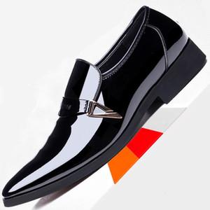 38 ~ 48 Beyaz Elbise Loafers Mens Örgün Düğün Suit Deri Ayakkabı Sivri Burun Düz Loafer İtalyan İngiliz İş Ayakkabı Slip On