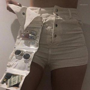 Casual Ayrılabilir Şort Dişiler Giyim Womens Cepler Tasarımcı Çoklu Cep Şort Moda Doğal Renk Kadife Pantolon