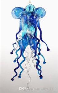 Vente chaude de petite taille 100% soufflés à la bouche borosilicate Blue Glass Art Nouveau style Lustres lumière Home Décor Lustre