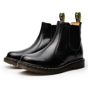 adam ayak bileği botlar inek kas taban C14 ile üst ayakkabı rugan parlak çizme slip-on Klasik unisex hakiki deri çizme Büyük boy Erkekler