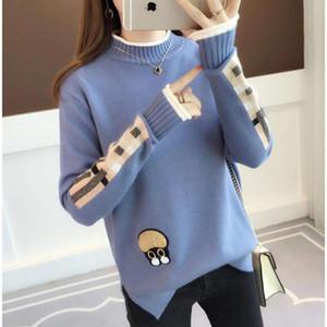 Frauen-fester Knit Pullover Damenmode 2019 neue Herbst-Mode Pull Tops Gelb beiläufige warme Pullover Qualitäts-T200101 Fall