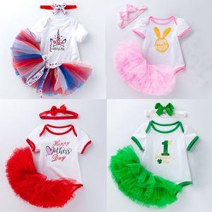 Mein erstes Weihnachten Mädchen Kleinkind Babys Kinder Art und Weise Kleid neugeborenes Baby Kleidspielanzug Tops Tutu-Kleid Haarband Set Weihnachten