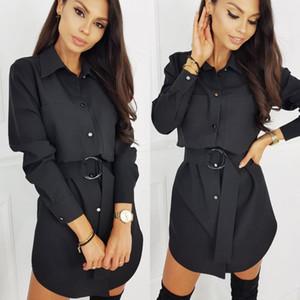 Casual solido Colore pulsante manica lunga Turndowen collare del mini vestito modo delle donne camicia vestito casuale caduta Abbigliamento