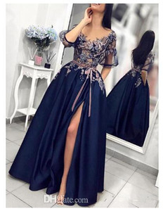 Elegant Navy Satin Blue Evening Gown 2020 half sleeve Lace Applique Sheer Neck Ever Pretty Prom Dresses Long vestido de festa