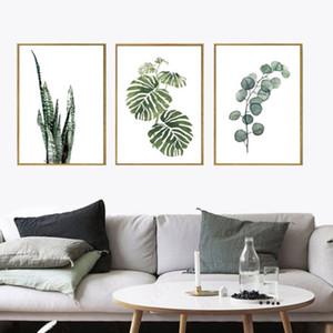 Nordic simple 30x40cm40x50cm verde la decoración del arte de la lona de la planta de impresión de carteles pared del hogar del cuadro decorativo
