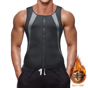 BNC sauna para Hombres Traje cintura Trainer para la pérdida de peso en caliente de neopreno sudor entrenamiento talladora del cuerpo de compresión sin mangas del chaleco con cierre de cremallera