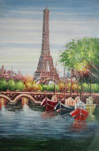 Eiffel del río Sena Puente de la torre de París Barcos color de alta pintura al óleo de la impresión del arte pintado a mano de calidad HD en lona Decoración de múltiples tamaños