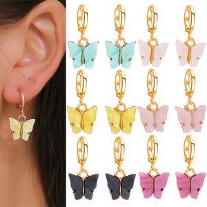 6 цвет корейский бабочки мотаться серьги для женщин Мода Цвет Акриловые серьги падения Luscious Boho ювелирных Mujer Подарки JJ151