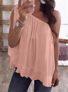 Estate delle donne magliette di spalla delle signore di colore Spento Fisso Tops parti superiori casuali più il formato Abbigliamento Donna di colore della caramella allentato