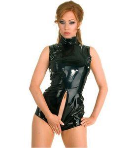 블랙 라텍스 PVC 바디 수트 고양이 여성 인조 가죽 Catsuit 에로틱 습식 봐 Bodycon 펑크 페티쉬 란제리 섹시 클럽 점프 수트 의상
