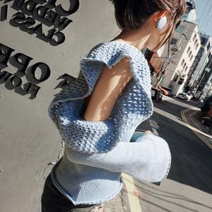 ahuecado fuera del hombro tops de punto dulce suéter delgado mujer marca de moda ins volantes jerseys tops azules moda femenina nueva