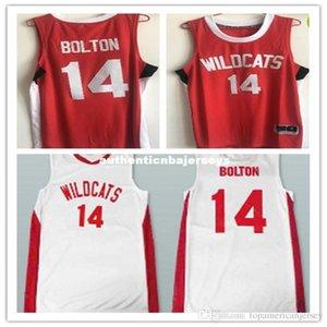 Pas cher Retro # 14 Zac Efron Troy Bolton-Est chats sauvages de lycée de basket-ball Maillots Throwbacks Hommes Cousu T-shirt personnalisé tout numéro