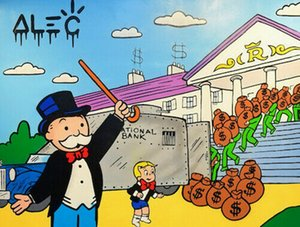 Alec Monopoly Graffiti art decor National Bank Home Decor Handpainted &HD Print Oil Painting On Canvas Wall Art Canvas Pictures 1111