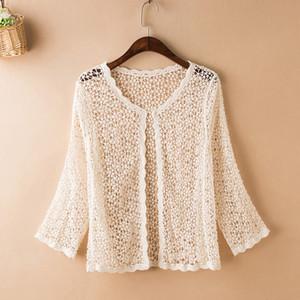 Short jacket, small shawl, thin jacket, lady Crochet hollow knitted cardigan, summer skinny blouse, air conditioning shirt