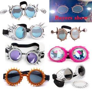 Objetivos, LELINTA Rojo Azul Steampunk Gafas partido del festival con la moda de Desgin del delirio EDM Vasos de cristal Gafas de Cosplay de la vendimia