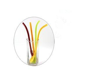 Kreative Stroh Löffel Bunte Plastik dringking Strohhalme Smoothies Rühren Milchshake Löffel Strohhalme Party Supplies CCA11869-C 500 Stück