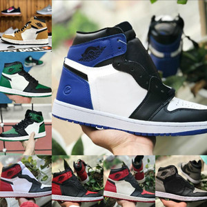 2020 New High OG Mens 1s Basketball Shoes Cheap Chicago Fragment Retroes Banned Shadow Bred Red Blue Gray White Black Toe Women 1s Shoes