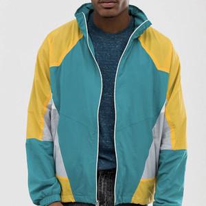 Mens de la marca rompevientos con capucha chaquetas abrigos de diseño del remiendo Sports Active Gym ejecución de la primavera otoño de manga larga de la cremallera sudaderas LJJ98291