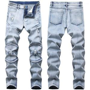 Мужские джинсы Мода Светло-голубой вскользь мужские брюки Складки Light Wash Изношенные Мужской Одежда Упругие Тонкий Hole
