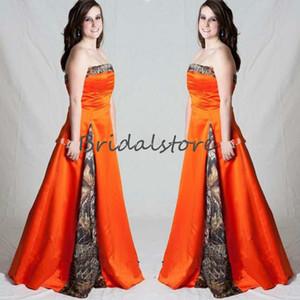 Cheap Orange Camo Wedding Dresses Camouflage Strapless Aline Country Boho Wedding Dress Beach Bohemain Bridal Gown 2020 robe de mariée