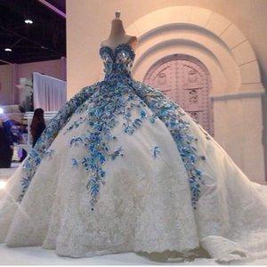 Cristalina de lujo del cordón de 2020 vestidos de noche apliques de novia Gorgeous Cuentas Iglesia tren barato más el tamaño de novia vestidos de bola robe de mariage