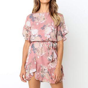 2020 neue Frauen-Blumenminikleid-Kurzschluss-Hülse O-Ansatz Rüschen Minikleid-Sommer-beiläufige weibliche Blumen Kleider Plus Size