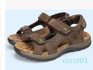 2017 sandali di estate faashion Gli uomini del cuoio genuino scarpe basse Pantofole Beach Walking casual CT1 Mens Shoessmileseller