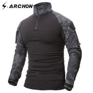 Combate S.ARCHON Uniforme Militar tático Long Sleeve T Shirt Men camuflagem do exército camiseta Airsoft Paintball Roupa Multicam shirt MX200611