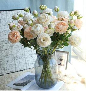 16cm Rose Pink Peony de seda flores artificiales Ramo 2 principal grande y 1 Bud baratos Flores falsas de Home decoración de la boda
