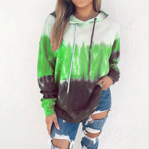 Rainbow Gradient Colorful Hoodies Women Sweater Warm Loose Casual Shirt Tops Pullover Hooded Blouse Sweatershirts ZZA1911 30pcs