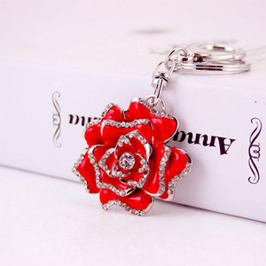 Hermosa rosa roja llavero señora Bag Accesorios flor del metal del goteo del Rhinestone Crafts colgante llavero regalo regalos creativos