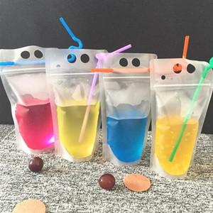 FDA 승인 음료 파우치와 짚으로 포장 플라스틱 애 파우치 가방 물 음료 가방 도매 빠른 배송