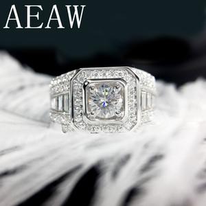 AEAW Роскошный Pave Муассанит кольцо 14K Белое Золото 2CTW Круглый Cut Brillant Lab Алмазные бэнд для мужчин Свадьба Мужские ювелирные изделия S200110