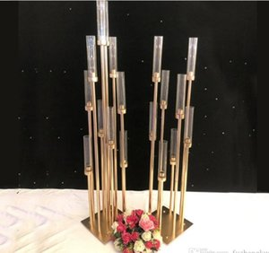 10PCS Metal Candle Holders Candlestick Flower Vases Wedding Table Centerpiece Candelabra Pillar Stand Road Lead Party Decoration