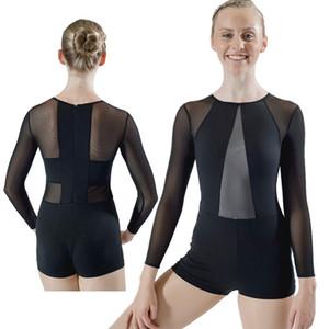 Mesh donne elastico Body Vedere attraverso maniche lunghe tuta Ballet Body Danza Ginnastica Zipper collant neri Swimwear sexy