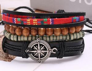 Bracciale Uomo 100% vera pelle di ancoraggio della nave braccialetto di perline Corda della canapa combinazione tuta braccialetto regolabile 4styles / 1set