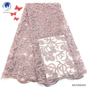 BEAUTIFICAL african lace fabric 2019 latest lace fabric embroidery 5yards lot for dresses new products dress lace fabric ML43N64