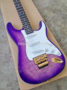 Toptan özel en çok satan karaağaç elektro gitar, Stella gitar sistemi mor kaplan yüzey işleme, altın donanım vibrato çift kilit