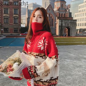 Gaganight Noel Kadın Triko Uzun Kollu Turtleneck Vintage Kazak Bayan Casual Gevşek Jumper Patchwork Moda Kazak