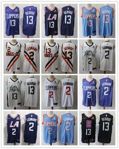 Mens Los AngelesClippers Throwback Jersey Paul 13 GeorgeKawhi 2 Leonard Basketball Shorts Basketball Jersey black navy Blue