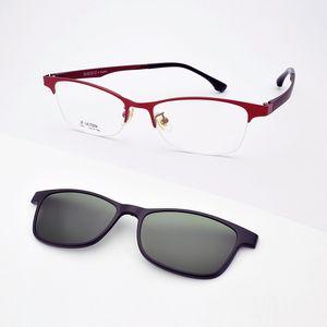 Luxo-Óculos Moldura Feminino Miopia Vinho Vermelho Óculos De Armação Rosa Com Ímã Espelho Polarizado Óculos De Sol Roxo