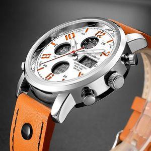 Readeel marca LED di sport del quarzo Orologi Uomini Analogico Digitale Doppio Display orologio con sveglia Genuine Leather principale impermeabile uomo orologio da polso