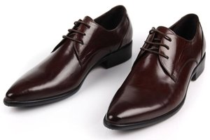 Fashion Cowhide Leather Shoes Lace-up Low Top Formal Wear Men Shoes Leather Pointed Toe Style Wedding Shoes