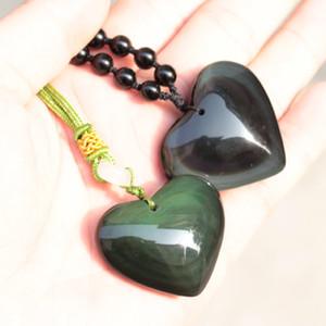En forma de corazón del arco iris de obsidiana colgante de piedra de piedra natural colgante Fox tallado por mujer para el envío al por mayor de regalo libre!