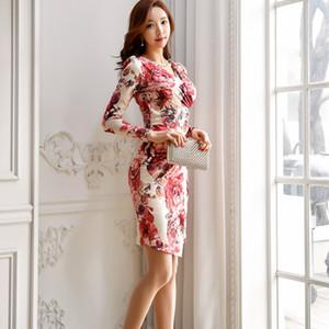 Womens new spring 2019 Korean version of celebrity temperament pleated Vneck fashion print slim fit buttock dress