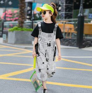 verano nuevos niños grandes mujeres de edad verano trajes negro de manga corta camiseta + letra impresa liga mono 2pcs niños conjuntos A2622 informal